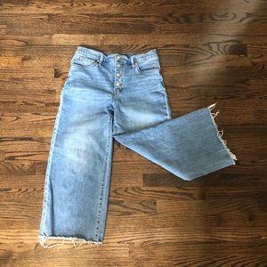 Madewell button-up wide leg crop jean